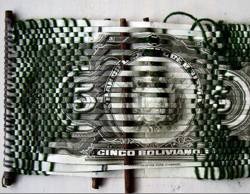 Sandra De Berduccy, Cinco, banconote e tecnica tessile, s.d.