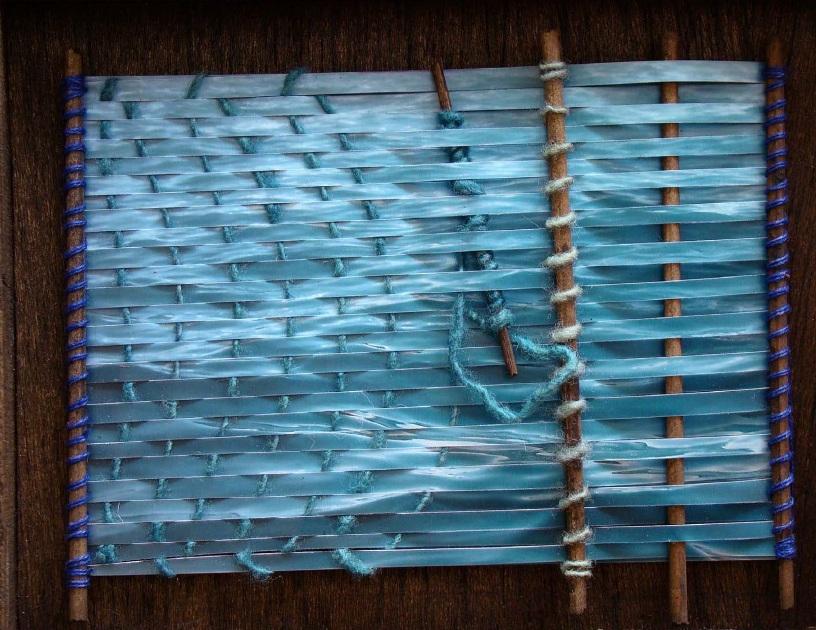 Sandra De Berduccy, Azul abismos e azul verdosos, fotografia e tecnica di tessitura tradizionale andina, particolar, s.d.