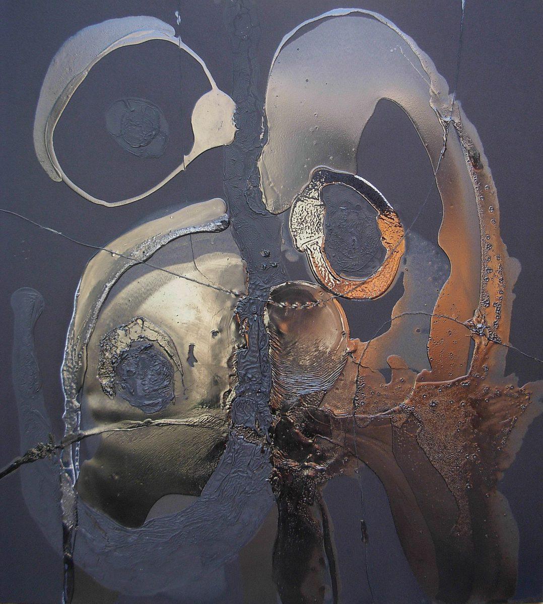 Julio César Soria Justo, Marea Negra, tecnica mista su lineo plastificato, 110x100cm, s.d.