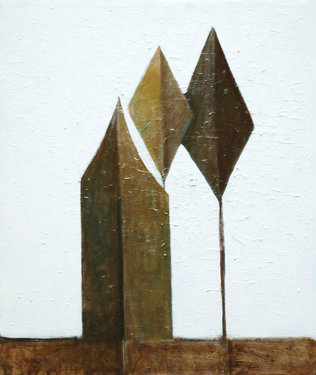 Pierantoni Verga, In attesa, tecnica mista su tela, 80x70cm, 2011