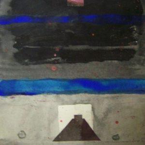 Alessandro Savelli, Cielo Maya, tecnica mista e collage su carta, 35x35, 2009